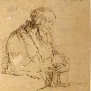 Vieil homme en meditation s'appuyant sur un livre  ( vers 1645 )
