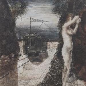""""""" La fin du voyage """"  encre et aquarelle sur papier ( 1968 )"""