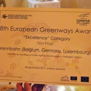 La Vennbahn a reçu un « Excellence Award » en Irlande