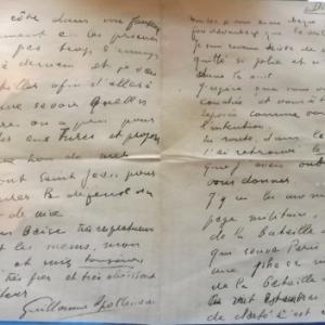 Lettre de Guillaume Apollinaire