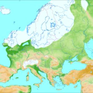 Au maximum glaciaire, une calotte de glace recouvre le Nord de l'Europe et les Alpes. © Ulamm