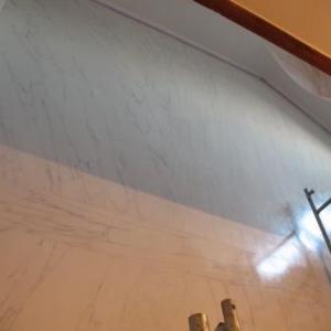 Faux marbre sur mur 3eme etage termine.