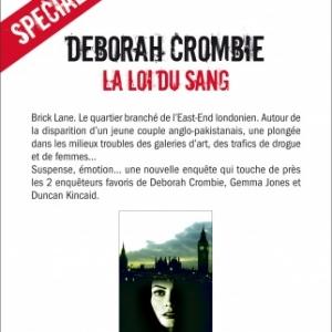 La loi du sang de Deborah Crombie  Editions Albin Michel.