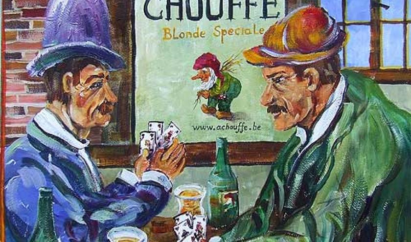 Dans un estaminet houffalois. Peinture de Clovis Grandhenry