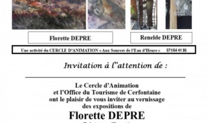 Exposition des artistes Renelde et Fleurette DEPRÉ  à Cerfontaine
