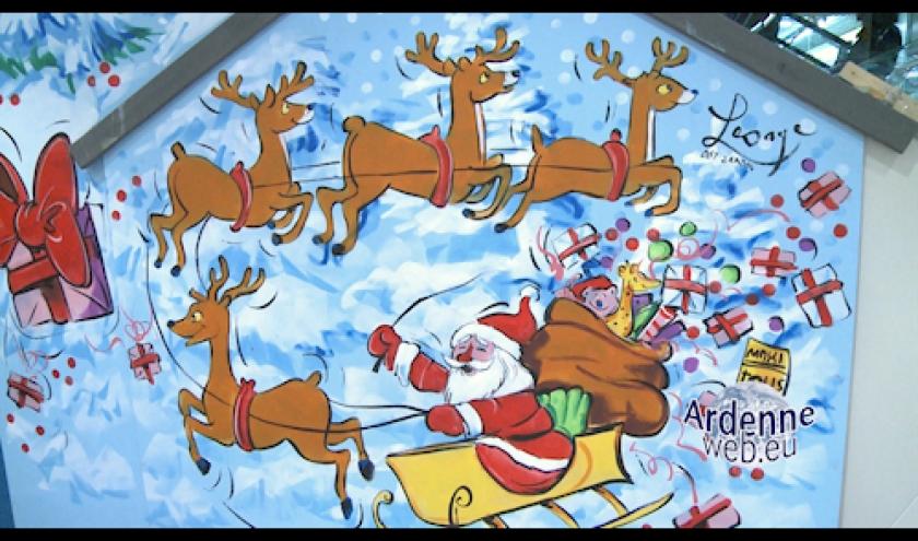 Peinture murale realisee par Jean-Marie Lesage au Knauf Center de Pommerloch