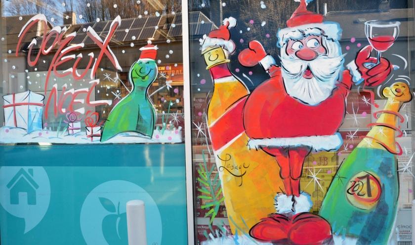 Peinture sur vitrine pour NOEL 2020 par Jean-Marie Lesage