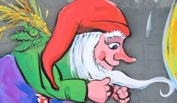 """Le célèbre nuton de la Chouffe. Caricature Jean-Marie Lesage. Article: """" Belhaize et son impasse sur la Chouffe"""""""