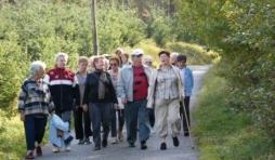 Un groupe de seniors houffalois en balade. Entre la Gloriette et l'Ermitage. Octobre 2007.