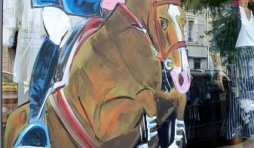 Jumping, international, peinture sur vitrine, Paris, Jean-Marie Lesage