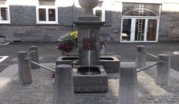 """La fontaine devant la salle """" La Fraternite """""""